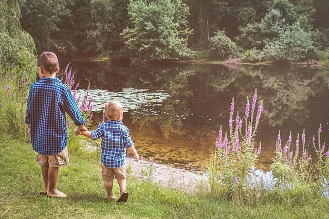 bratři u rybníka